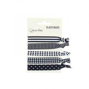 Queen Pam Elastique cheveux Pop'bow Noir et blanc x5, Elastique