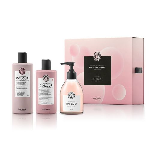Maria Nila Coffret Luminous Colour (2 soins + 1 savon main Bouquet) 950ML, Coffret