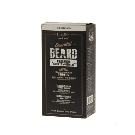 H.Zone professional Teinture barbe et moustache Kit Noir 60ML, Teinture barbe