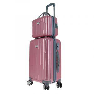 Set de bagagerie Glossy Rose - Valise trolley & vanity