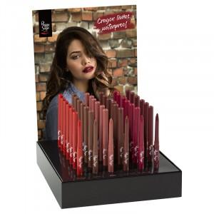Peggy Sage Présentoir 36 crayons à lèvres Waterproof, Présentoir produits