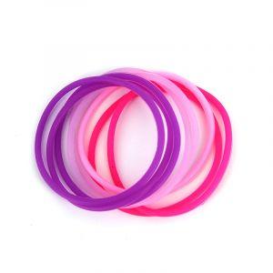 Queen Pam Elastique silicone Violet & Rose x8, Elastique