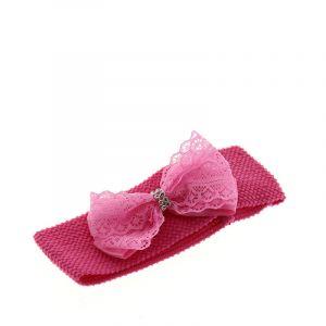 Bandeau large rose avec noeud
