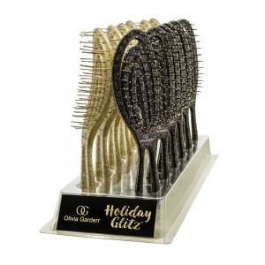 Olivia Garden Présentoir 12 brosses pailletées Holiday Glitz, Présentoir produits