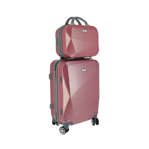 Set bagagerie valise trolley & vanity Rose graphique