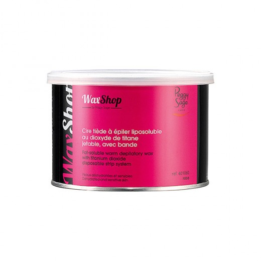 Peggy Sage Cire tiède à épiler liposoluble Rose titane 400ML, Pot de cire