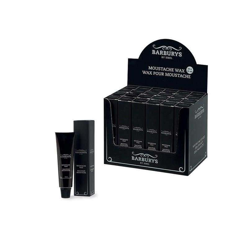 Barburys Présentoir de 24 wax pour moustache 360ML, Présentoir produits