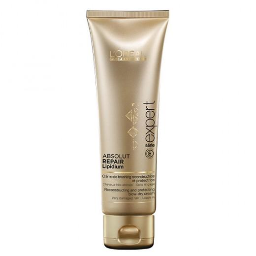 L'Oréal Professionnel Crème de brushing recontructrice Absolut Repair Lipidium 125ML, Protecteur thermique