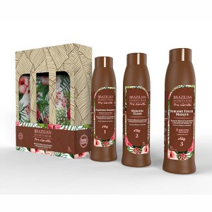 Brazilian Secrets Hair Kit lissage brésilien Pro Keratin (3x1L) 3000ML, Kit lissage brésilien