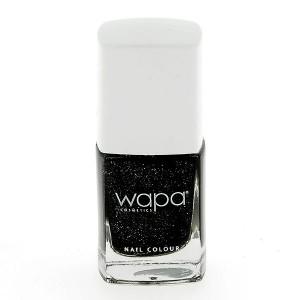 Wapa Vernis à ongles séchage rapide Noir pailleté 035 12ML, Vernis à ongles couleur